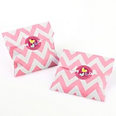 Playful Butterfly and Flowers - Chevron Favor Bags with Personalized Round Party Sticker Labels - 24 Count
